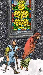 My prelim recoloring of RWS 5 of Pentacles