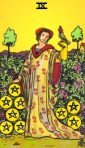 My recoloring of the RWS Nine of Pentacles