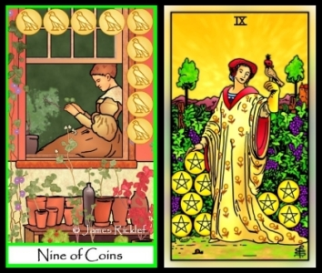 TOM Nine of Coins and RWS 2.0 Nine of Pentacles