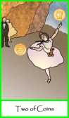Two of Coins (Pentacles) -- Tarot of the Masters