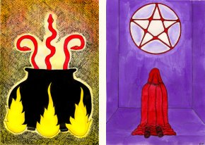Tarot of the Crone Three of Wands and Five of Cups