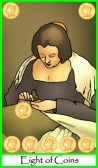Tarot of the Masters -- Eight of Coins / Pentacles