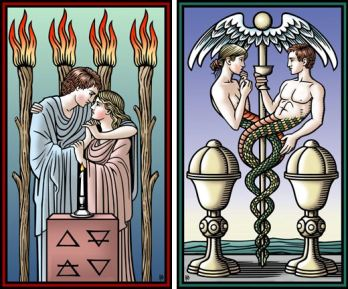 4 of staffs 2 of cups Tarot of the Sevenfold Mystery