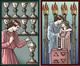 8 of Cups and 4 of Staffs Tarot of the Sevenfold Mystery