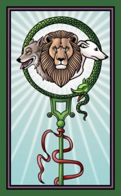 Card back Staff of serapis Tarot of the Sevenfold Mystery