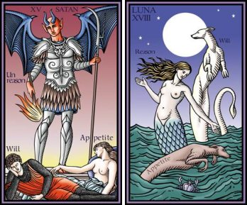 Tarot of the Sevenfold Mystery Devil and Moon