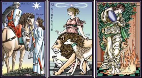 Tarot of the Sevenfold Mystery Justice Strength Temperance