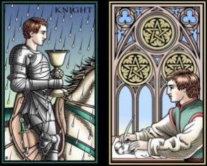 Sevenfold Mystery Knight Cups Three Coins