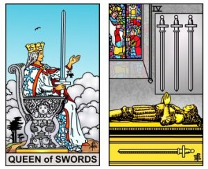 Queen and Four of Swords -- RWS2.0