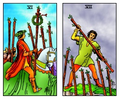 Six and Seven of Wands -- RWS2.0