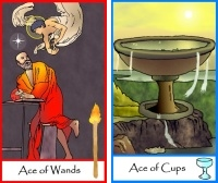 Aces of Wands and Cups from Tarot of Masters