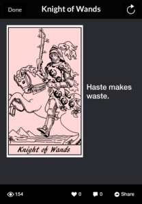 CotD 8 23 2014 Knight of Wands haste makes waste 50PCT