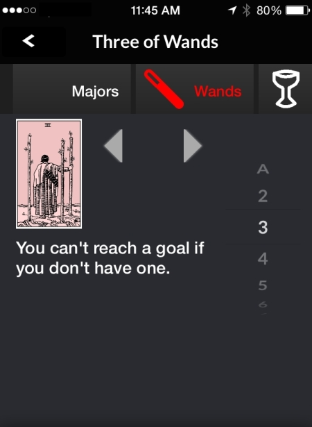 Pithy Three of Wands -- All cards screen