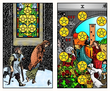 Five and Ten of Pentacles RWS2.0