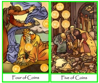 Pentacles Four and Five png