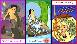 Tarot of the Masters Star, King of Cups, and Seven Wands Reversed
