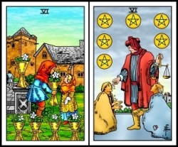 Sixes of Cups and Pentacles RWS2.0