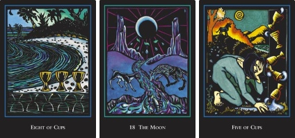 World Spirit Tarot Eight of Cups Moon and Five of Cups