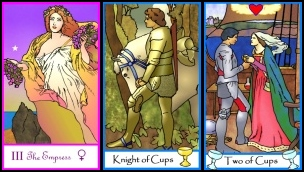 Triptych Tarot of the Masters -- Empress, Knight of Cups, and Two of Cups