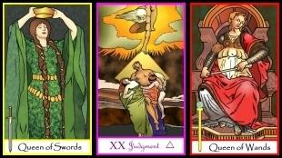 Triptych Tarot of the Masters Queen of Swords, Judgment, Queen of Wands