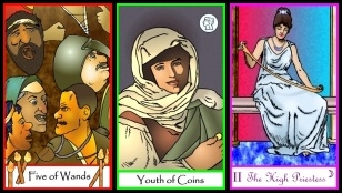 Triptych Tarot of the Masters Five of Wands, Youth of Coins, High Priestess
