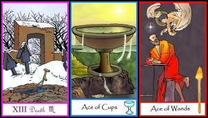 Tarot Triptych Death, Ace of Cups, Ace of Wands