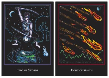WST: two of swords and eight of wands