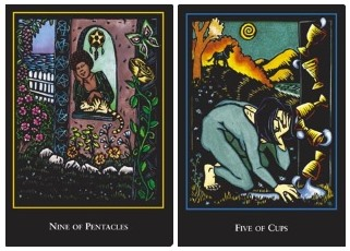 WST nine of pentacles and five cups