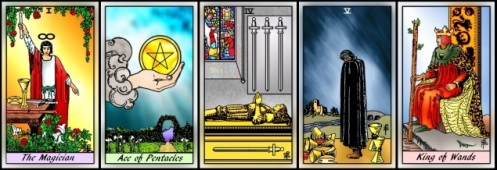 RWS 2.0 Magician, Ace of Pentacles, Four of Swords, Five of Cups, King of Wands